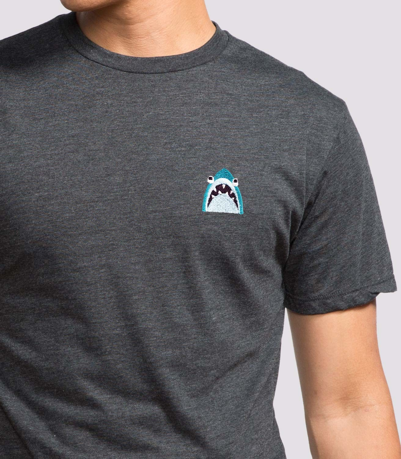 Shark embroidered men 39 s t shirt headline shirts for Shirt with logo embroidered