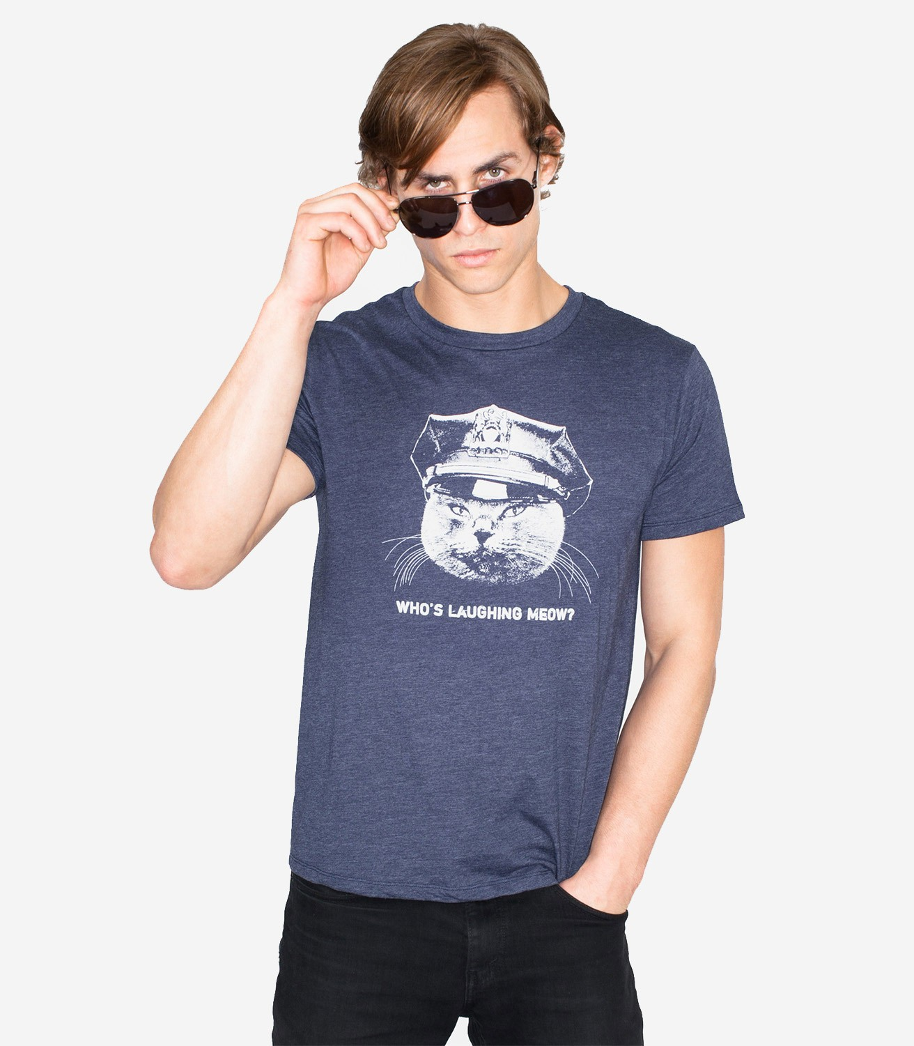 Who 39 s laughing meow men 39 s funny t shirt headline shirts for Tee shirts and more